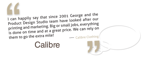 Calibre clothing loves working with Product Design Studio