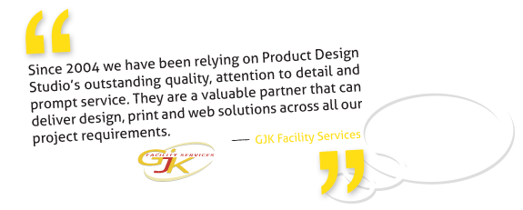GJK Facility Services trusts Product Design Studio for graphic Print and Web project solutions